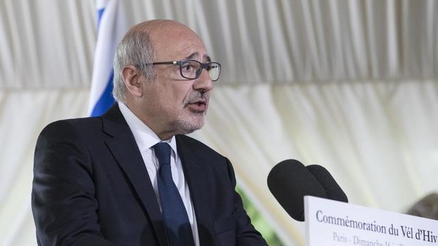 Francis Kalifat, président du Crif, lors d'un discours prononcé à l'occasion de la cérémonie marquant le 75e anniversaire de la rafle du Vél d'Hiv à Paris, en juillet 2017.