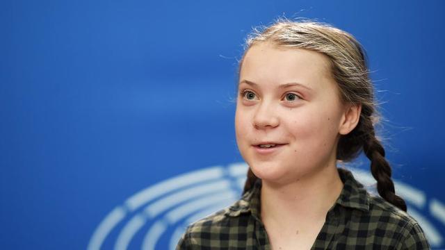 Greta Thunberg lors d'une conférence de presse au Parlement européen à Strasbourg, le 16 avril dernier.