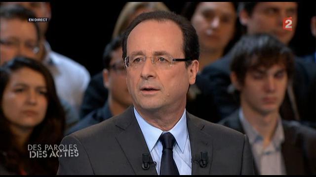 François Hollande sur le plateau de France 2