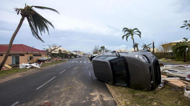 Un quartier de Marigot, capitale de Saint-Martin, le 6 septembre 2017, après le passage de l'ouragan.