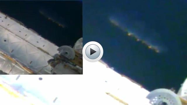 L'OVNI est resté immobile près de la station spatiale pendant plusieurs minutes avant de disparaître.