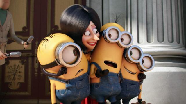 """Stuart, Scarlet Overkill, Kevin et Bob, les personnages du film """"Les Minions""""."""