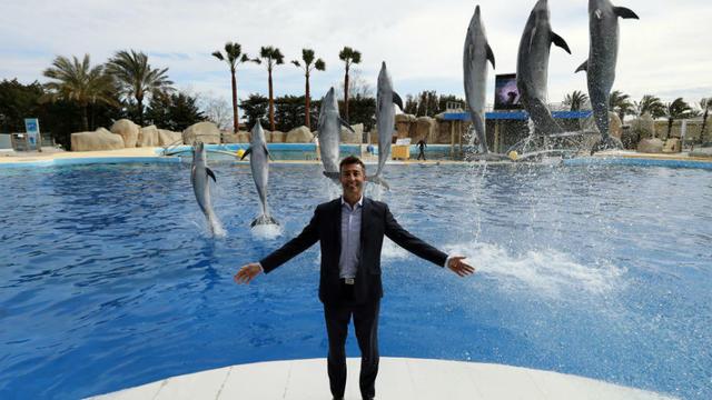 Le nouveau directeur du parc, Arnaud Palu, pose devant un spectacle de dauphins, le 17 mars 2016.