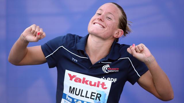 La nageuse française Aurélie Muller lors de sa victoire à Kazan, en Russie, le 28 juillet 2015.