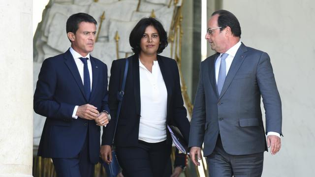 Manuel Valls, Myriam El Khomri et François Hollande à la sortie du Conseil des ministres, le 2 septembre 2015.