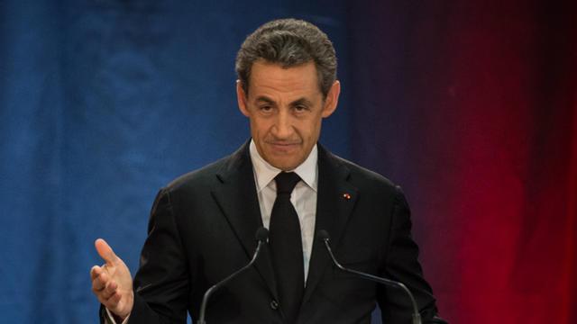Nicolas Sarkozy, lors de son premier meeting après l'annonce de son retour, à Lambersart, le 25 septembre 2014.[PHILIPPE HUGUEN / AFP]