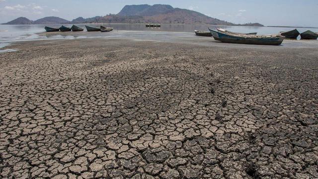 Vue du lac asséché de Chilva, au Malawi, le 18 octobre 2018.