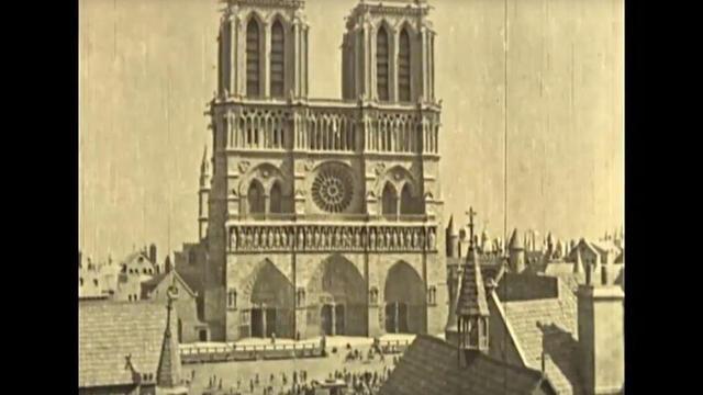 Vue de la cathédrale dans The Hunchback of Notre-Dame (1923), de Wallace Worstley.