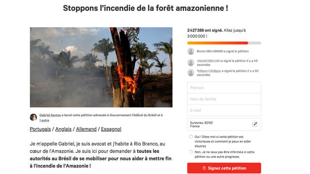 L'avocat à l'origine de la pétition réclame l'ouverture d'une enquête sur les incendies.