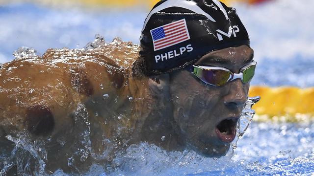 Michael Phelps lors de l'épreuve de 200 m papillon qu'il a remporté mardi 9 août 2016 à Rio.