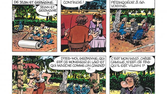 """Une planche de la bande dessinée """"Un amour exemplaire"""" de Florence Cestac et Daniel Pennac parue chez Dargaud."""