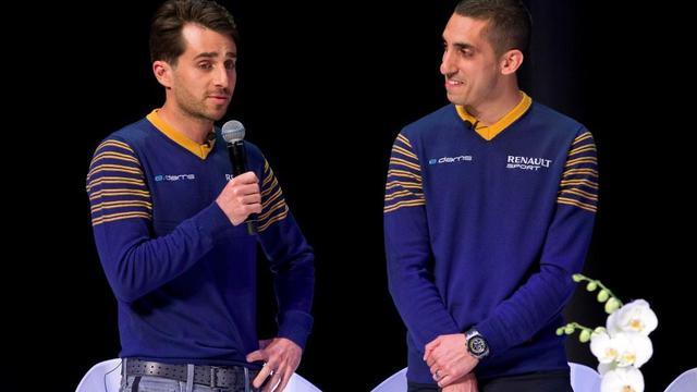 NicolasProst (à gauche) et Sébastien Buemi (à droite) sont les deux pilotes de l'écurie e.dams Renault en Formule E.