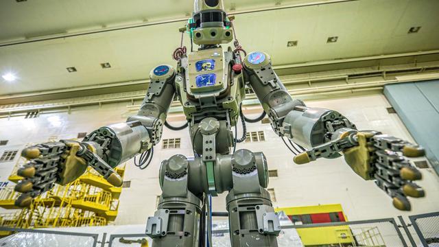 Le robot, qui porte le numéro d'identification Skybot F850, a décollé jeudi à bord d'une fusée Soyouz du cosmodrome russe de Baïkonour au Kazakhstan.