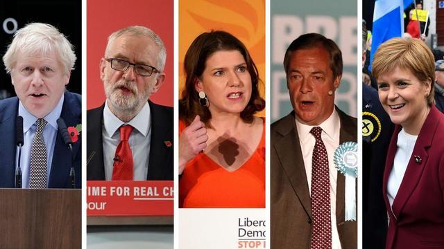 Boris Johnson (Conservateurs), Jeremy Corbyn (Travaillistes), Jo Swinson (Libéraux-démocrates), Nigel Farage (Parti du Brexit) et Nicola Sturgeon (Parti national écossais) sont les cinq visages à suivre lors de cette campagne des législatives.