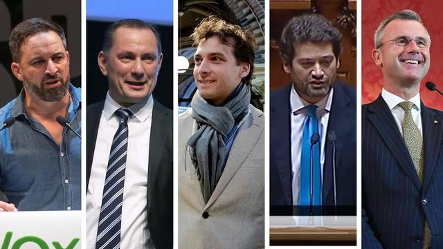 Santiago Abascal (Espagne), Tino Chrupalla (Allemagne), Thierry Baudet (Pays-Bas), André Ventura (Portugal) et Norbert Hofer (Autriche) font partie des nouveaux leaders de l'extrême droite en Europe.