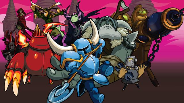 Shovel Knight (au centre) est un héros détonnant armé d'une pelle.