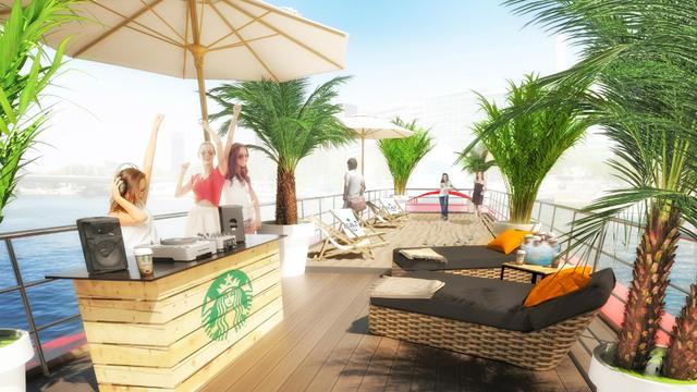 """La péniche de 250 m2 est divisée en trois espaces, dont un univers """"plage""""."""