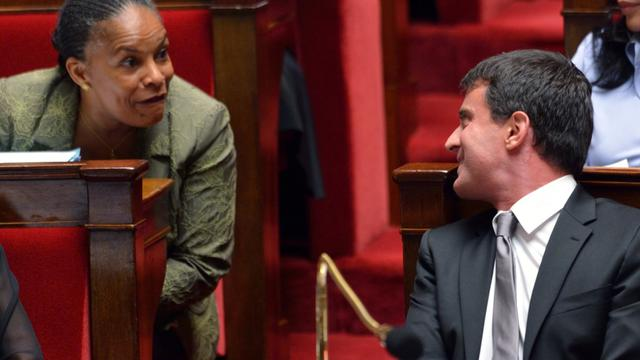 Christiane Taubira et Manuell Valls sur les bancs de l'Assemblée.