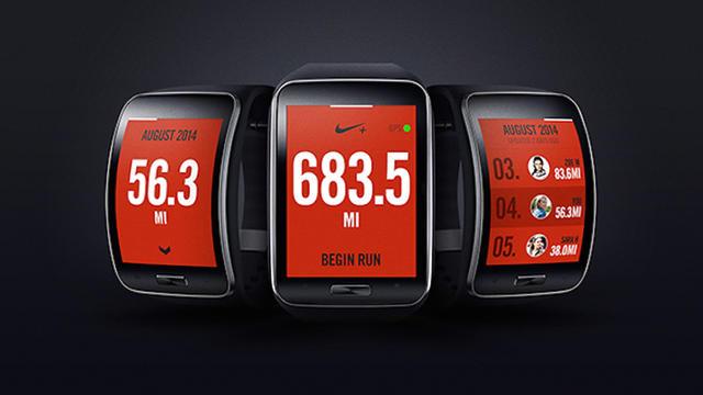 Image d'illustration d'une Samsung Gear S avec les applications Nike