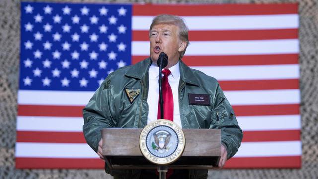 Donald Trump, lors d'un discours aux troupes américaines déployées en Irak, le 26 décembre 2018.