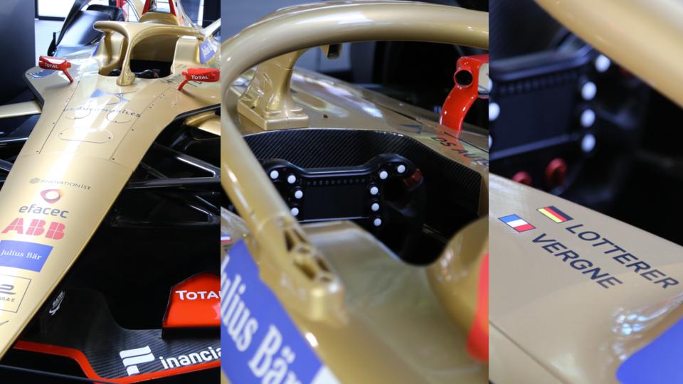 La voiture de Jean-Éric Vergne et son coéquipier allemand André Lotterer, sponsorisé par DS Techeetah.